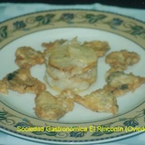 Montado de bacalao y cocochas rebozadas